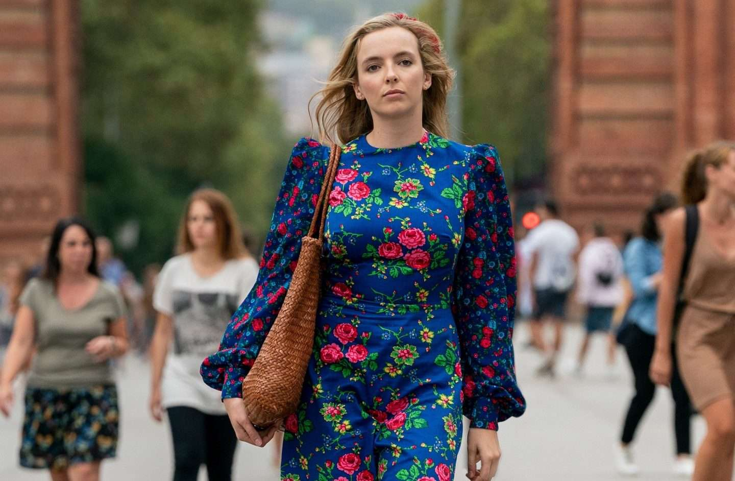 Jodie Comer in Killing Eve, wearing The Villanelle Dress