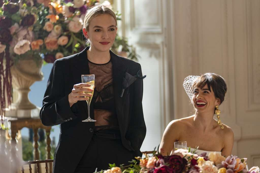 Jodie Comer as Villanelle in the black tuxedo
