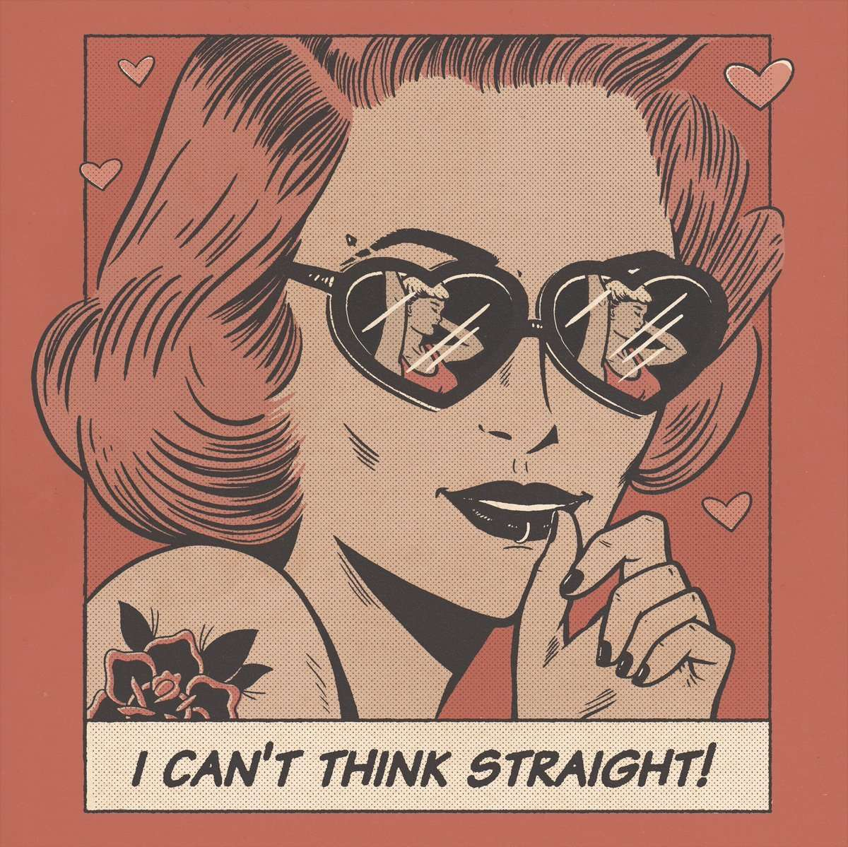 "a comic strip style illustration of a woman wearing glasses with the text ""I can't think straight"" below"