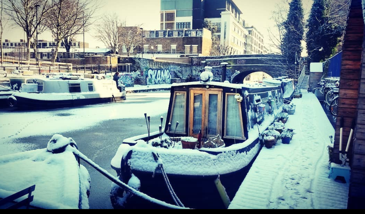 Snowy canal boat