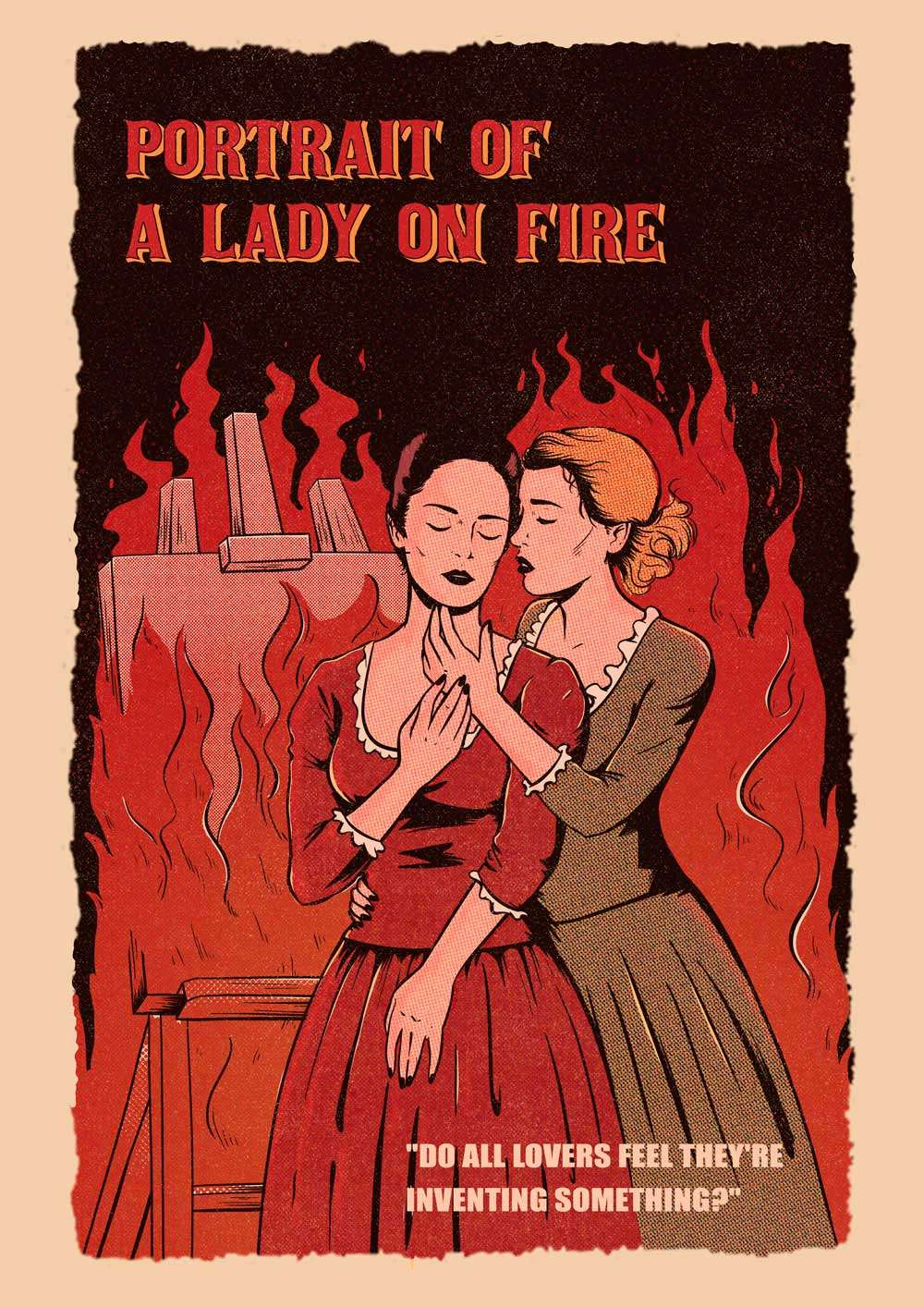 A piece of art showing the characters of Portrait of a Lady On Fire